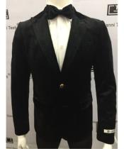 JSM-1859 Single Button Slim Fit Blazer BLACK Velvet Jacket