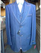 JSM-1891 Mens 2 Buttons Denim Blue Vested Suit Pleated