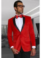 JSM-1947 Mens Velvet Fabric Discounted Blazer Sportcoat Red Jacket