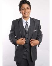 JSM-2363 Boys 2 Button Trimmed Peak Lapel With ShirtTie