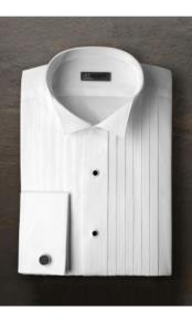 "JSM-2374 ""Alexander"" White Pleated Wingtip Tuxedo Shirt"