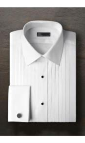 "JSM-2375 ""Vincent"" Pleated Laydown White Tuxedo Shirt"