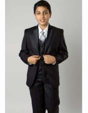 JSM-2402 Boys Solid Black 5 Piece Single Breasted Double