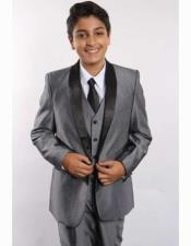 JSM-2405 Boys Two Toned Shawl Lapel 5 Piece Gray/Black