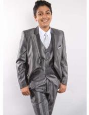 JSM-2409 Boys Single Breasted Two Toned Notch Lapel Grey