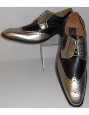 JSM-2424 Mens Gorgeous Wingtip Laceup Style Antique Metallic Silver