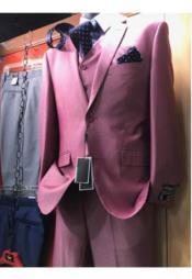 JSM-2476 Mens 2 Button Pink Vested Suit Notch Lapel