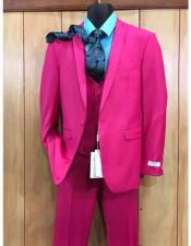 JSM-2530 Mens 2 Buttons Fuchsia Hot Pink Color Suit