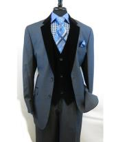 JSM-2584 Mens 2 Button Blue Velour Notch Velvet Lapel