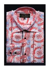 JSM-2752 Mens Fancy Shiny Paisley High Collar Pink Dress