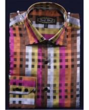 JSM-2756 Mens High Collar Club Rust Fancy Square Pattern