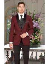 JSM-2816 Mens 1 Button Slim Fit Burgundy Single Breasted