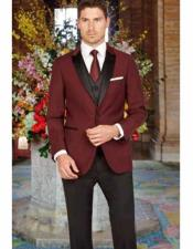 JSM-2817 Mens 1 Button Peak Lapel Slim Fit Burgundy