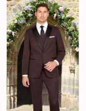 JSM-2819 Mens 1 Button Burgundy Slim Fit Satin Peak