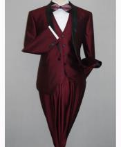 JSM-2853 Shawl Tuxedo Burgundy Slim Fitted 3 Piece Two