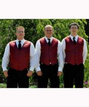 JSM-2859 Groomsmen Burgundy Vest + Pants Slacks + Any
