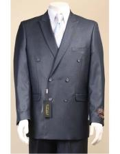 JSM-2949 Vitali Shiny Sharkskin Double Breasted Suit Pleated Pants
