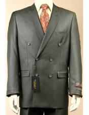 JSM-2950 Vitali Shiny Sharkskin Double Breasted Olive Suit Pleated