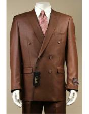 JSM-2951 Vitali Shiny Sharkskin Rust Double Breasted Suit Pleated