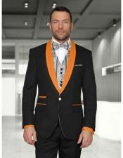 JSM-2992 Mens 1 Button Black/Orange Modern Fit Shawl Lapel