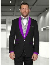 JSM-2993 Mens 1 Button Black/Purple Modern Fit Shawl Lapel