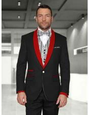 Mens 1 Button Black/Red