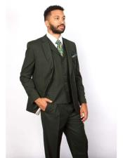 JSM-3080 Mens 5 Button Notch Lapel 100% Wool Green