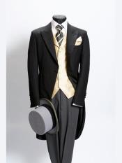 JSM-3230 Mens Plain Black Morning Coat Light Weight Wool