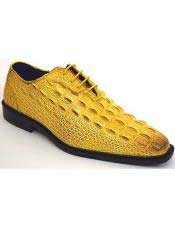 JSM-3311 Mens Yellow Plain Toe Oxford Gator Pattern Dress