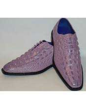 JSM-3312 Mens Lilac Lavender Super Gator Embossed Lace-Up Dress