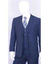JSM-3337 Mens 2 Buttons Bold Chalk White Stripe With