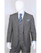JSM-3338 Mens 2 Buttons Bold Chalk White Stripe With