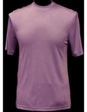 JSM-3432 Mens Classy Mock Neck Shiny Short Sleeve Lilac