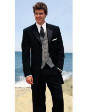 JSM-3777 Mens 4 Buttons Black 100% Wool Tuxedo Style