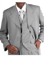 JSM-3830 Mens Light Grey ~ Gray Zoot Vested Fashion