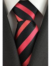 JSM-3978 Mens Fashionable Slim Tie Woven Black with Coral
