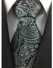 JSM-3979 Mens Necktie Woven Polyester Black Grey with white
