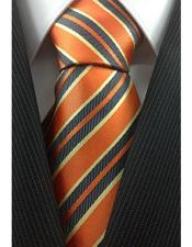 JSM-3980 Mens Trendy Necktie Orange with Yellow and Grey