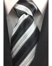JSM-3991 Mens Necktie Black White and Silver Classic Pinstripe