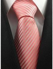 JSM-3995 Mens Necktie Woven Coral Pink and White Stylish