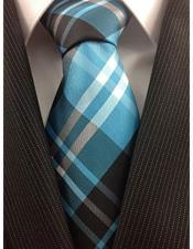 JSM-4006 Mens Necktie Woven Polyester Classic Plaid Blue Teal