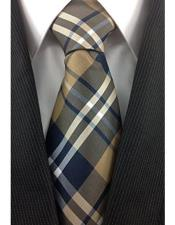 JSM-4014 Mens Brown Tan White and Navy Classic Plaid