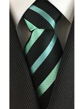 JSM-4015 Mens Classic Necktie Pearl Stripe Black with Mint