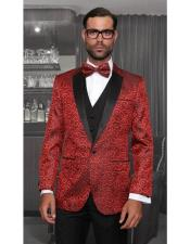 Bellagio Statement Shiny Flashy One Button Red Single Breasted