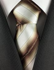 JSM-4064 Mens Skinny Necktie Cream with Bronze Brown Unique