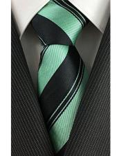 JSM-4066 Mens Skinny Necktie Peal Pinstripe Black with Mint
