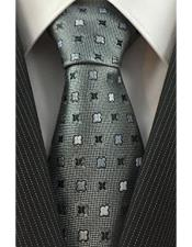 JSM-4081 Mens Trendy Necktie Woven with Geometric Accent Silver