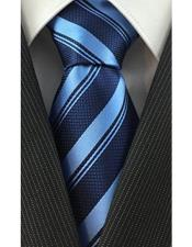 JSM-4083 Mens Necktie Woven Classic Stripe Baby Blue and
