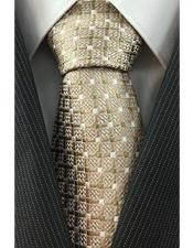 JSM-4084 Mens Grid Pattern Necktie Woven Beige with White