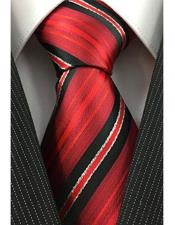 JSM-4085 Mens Necktie Red Black White with Tinsel Pinstripe